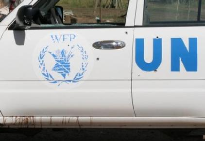 Blood stained and bullet holed: A UN vehicle following an armed attack. James Bevan, Lokichoggio, Northern Kenya, XX